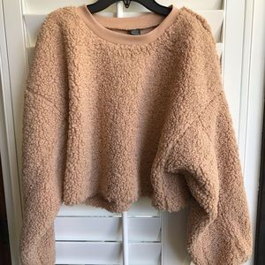 Wild Fable Blush Teddy Bear Cropped Sweatshirt, S